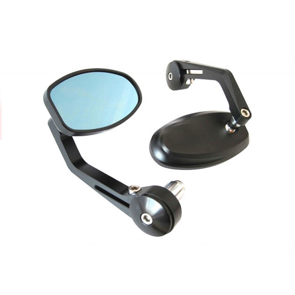 Paire Rétroviseur ovale noir embout de guidon café racer custom roadster