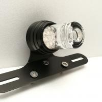 Feu arrière LED Design + Stop Vintage Alu Noir + Support de Plaque