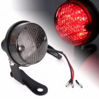 Feu arrière rond LED  + Stop Vintage Alu Noir + Support