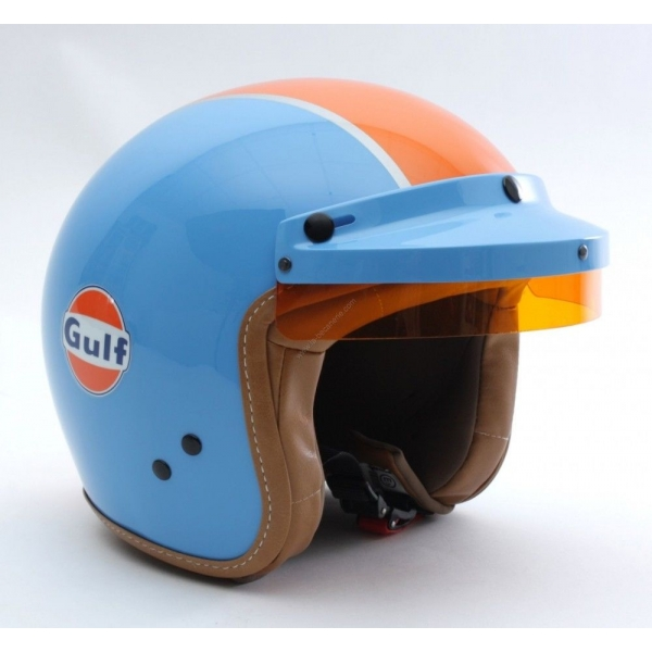 Casque jet + visière GULF bleu orange