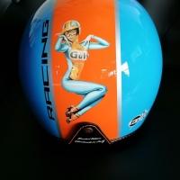Casque jet + visière GULF bleu orange Pin Up