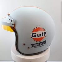 Casque jet + visière GULF vintage racing oil