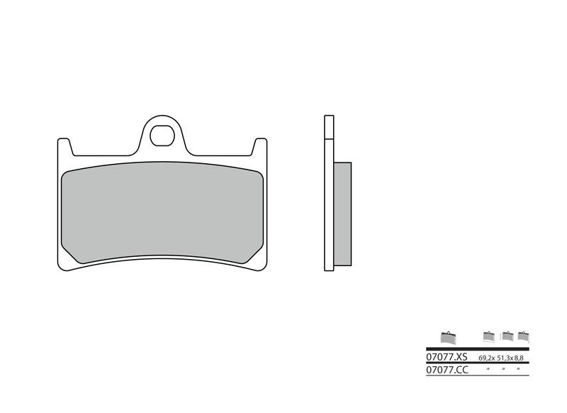 Plaquettes de frein BREMBO Scooter métal fritté - 07077XS