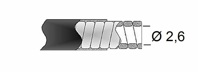 Gaine de frein 26/10 TRANSFIL - fil plat noir rouleau 30m