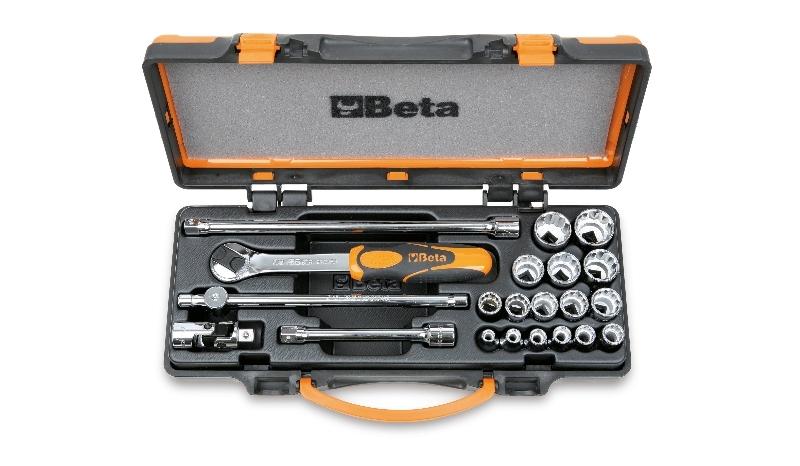 Coffret avec plateau thermoformé rigide BETA 1 cliquet avec 16 douilles 12 pans 3/8'' + 5 accessoires