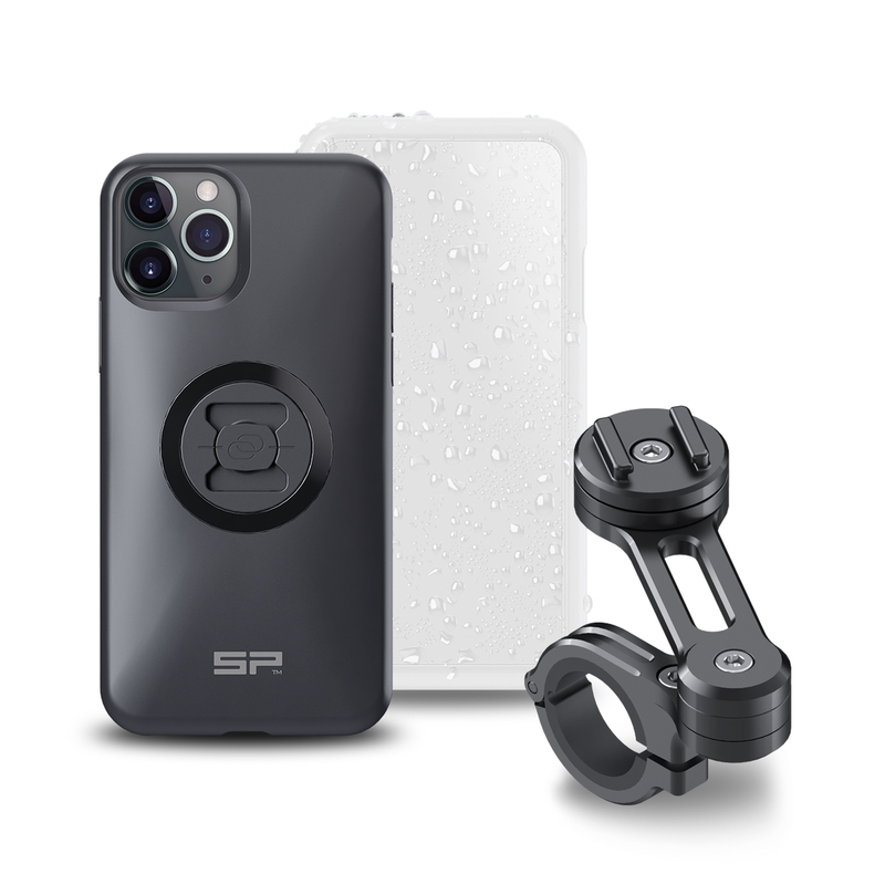 Pack complet SP-CONNECT Moto Bundle fixé sur guidon iPhone 11 Pro