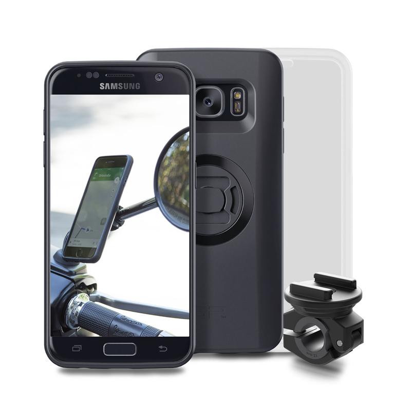 Pack complet SP-CONNECT Moto Bundle fixé sur rétroviseur Samsung S7