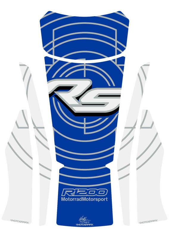 Protection de réservoir MOTOGRAFIX 4pcs blanc/bleu BMW R 1200 RS
