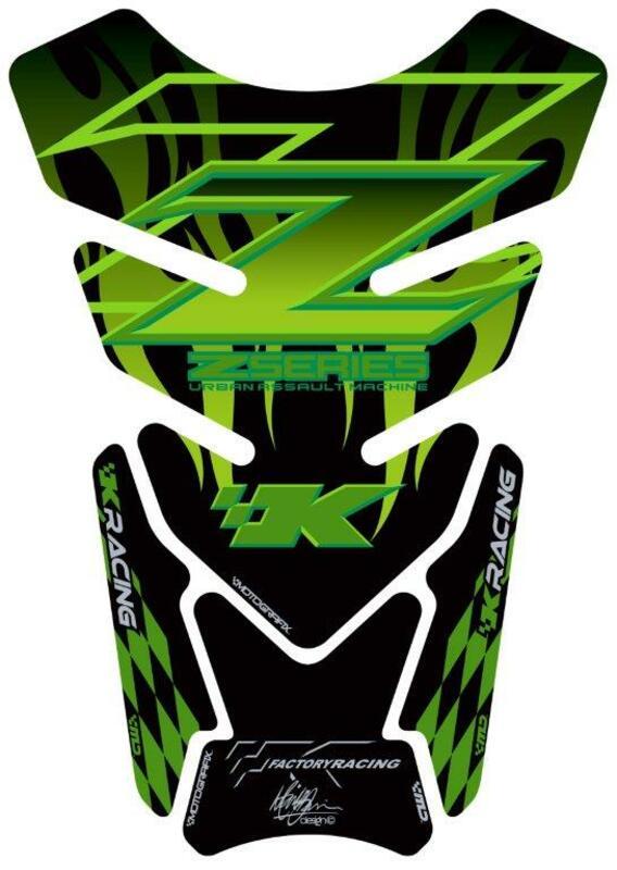 Protection de réservoir MOTOGRAFIX 4 pièces noir/vert Kawasaki