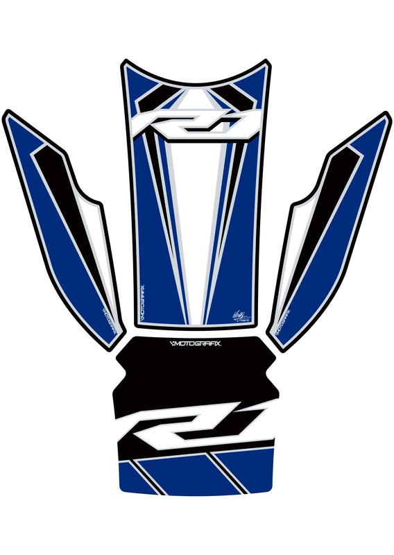 Protection de réservoir MOTOGRAFIX 4 pcs blanc/bleu Yamaha YZF-R1