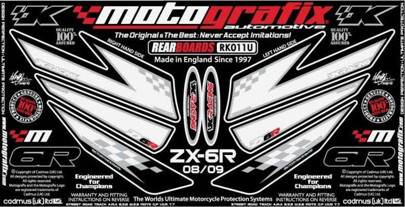 Kit déco arrière MOTOGRAFIX blanc Kawasaki ZX6R Ninja