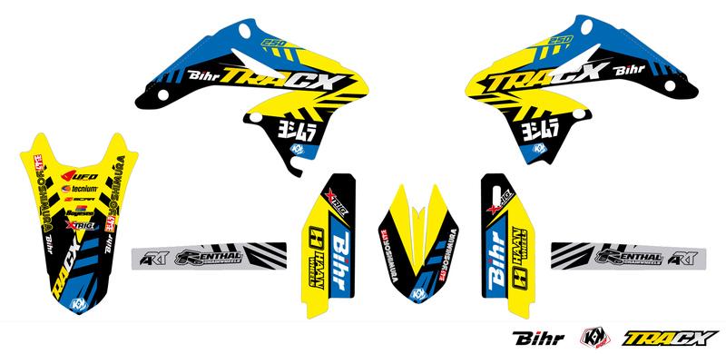 Kit déco KUTVEK Tracx jaune Suzuki RM-Z250