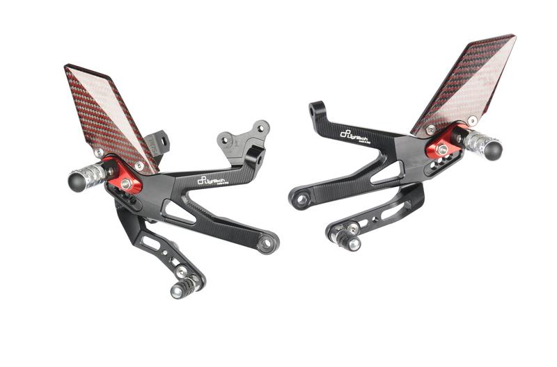 Commandes reculées réglables/repliables LIGHTECH Racing noir/rouge Ducati Panigale V4