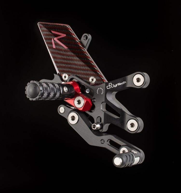 Commandes reculées réglables/repliables LIGHTECH Racing sélection standard et inversée noir/rouge MV B3 675/800/Dragster