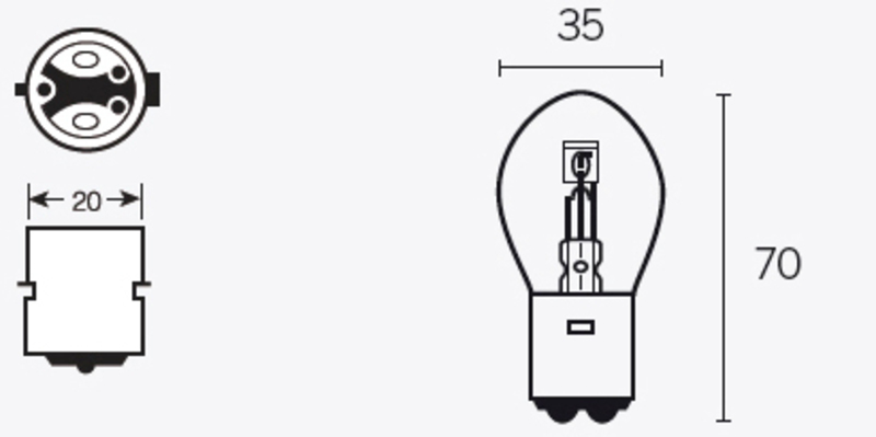 Ampoule TECNIUM B35 12V 35/35W - x10