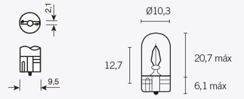 Ampoule TECNIUM T10 12V 3W - x10