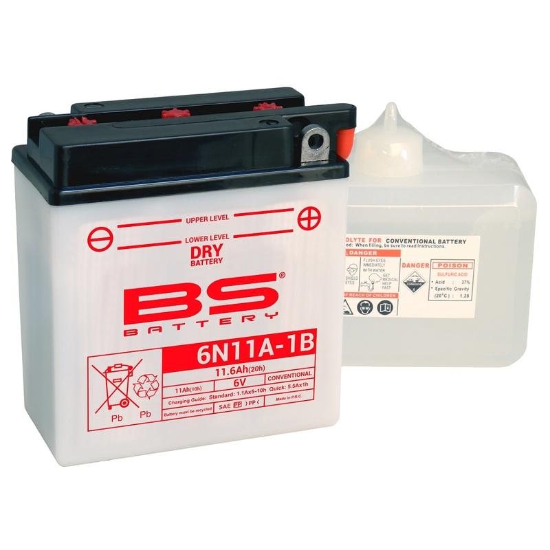 Batterie BS BATTERY conventionnelle avec pack acide - 6N11A-1B