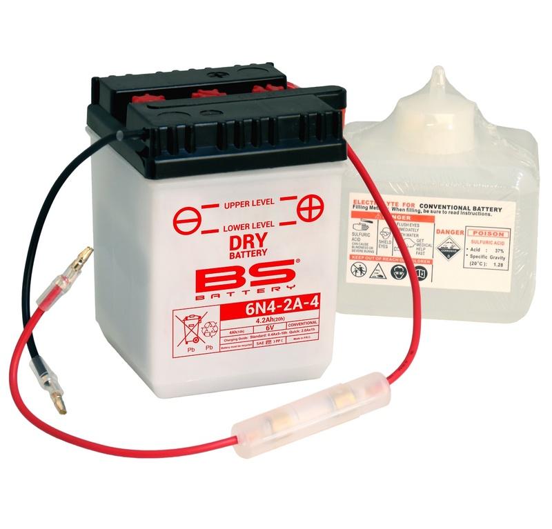 Batterie BS BATTERY conventionnelle avec pack acide - 6N4-2A-4