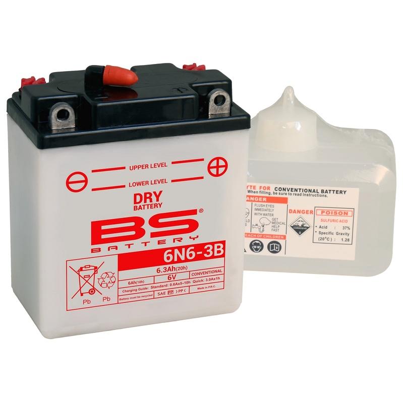 Batterie BS BATTERY conventionnelle avec pack acide - 6N6-3B