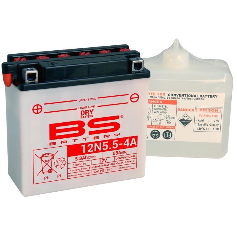 Batterie BS BATTERY conventionnelle avec pack acide - 12N5.5-4A