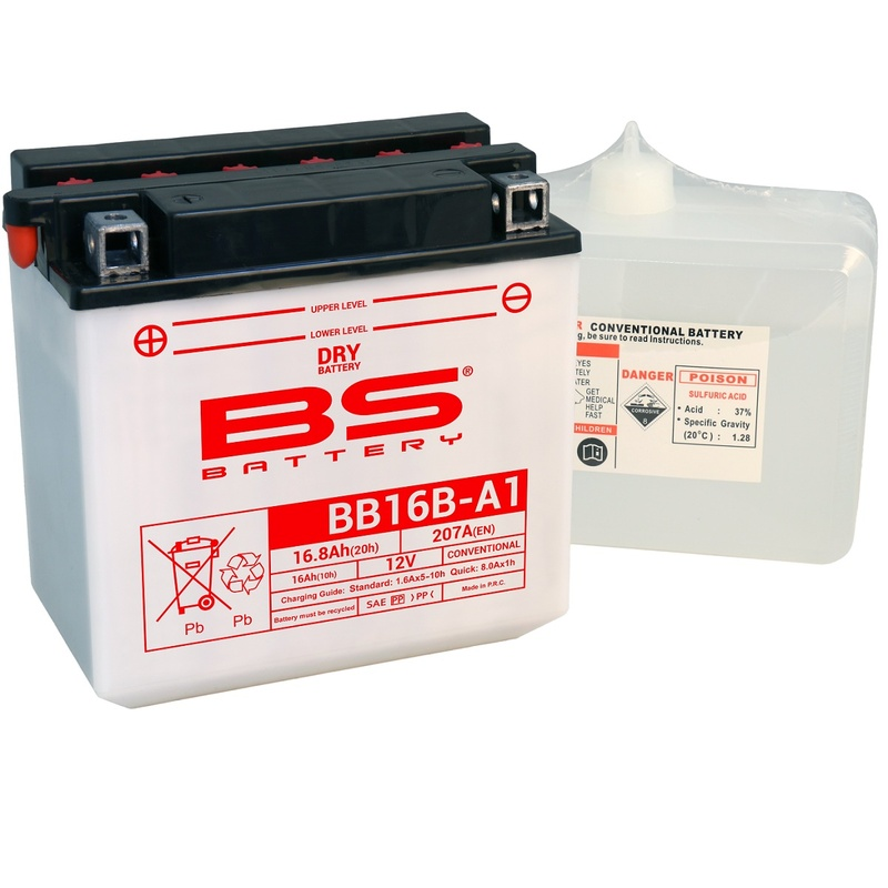 Batterie BS BATTERY Haute-performance avec pack acide - BB16B-A1