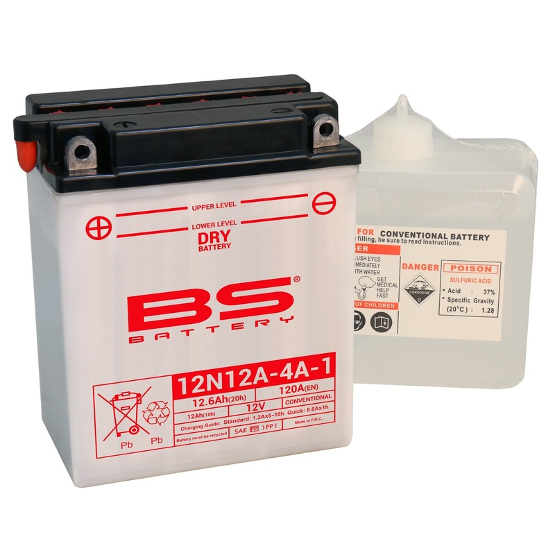 Batterie BS BATTERY conventionnelle avec pack acide - 12N12A-4A-1