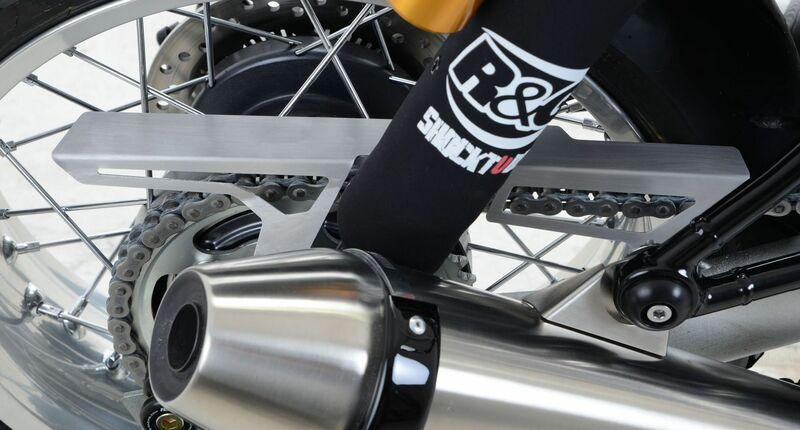 Protection de chaîne R&G RACING inox brossé Triumph Thruxton