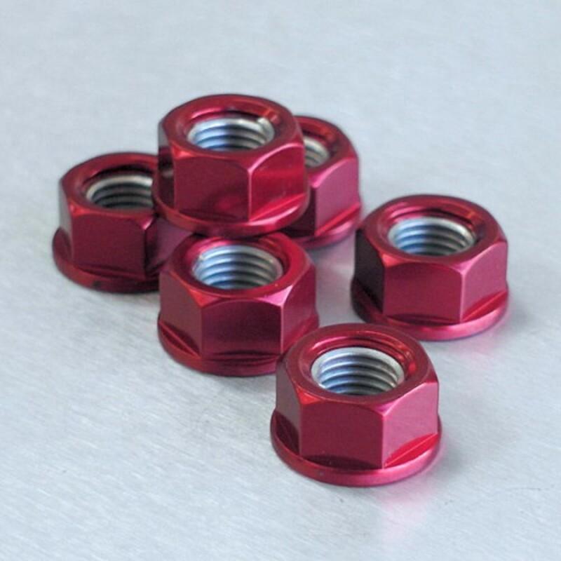 Ecrou de couronne M10X1,25 Pro-bolt alu rouge par 6