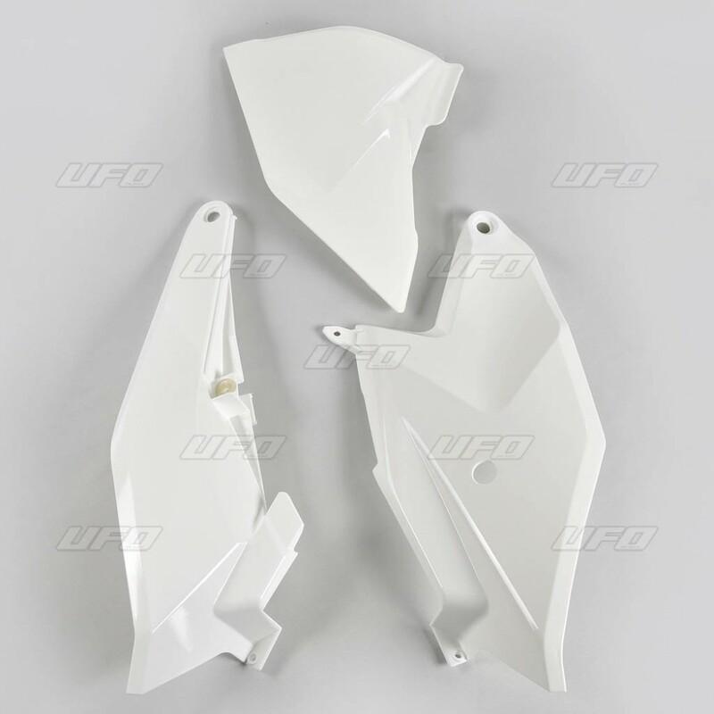 Plaques latérales + cache boîte à air UFO blanc KTM SX85