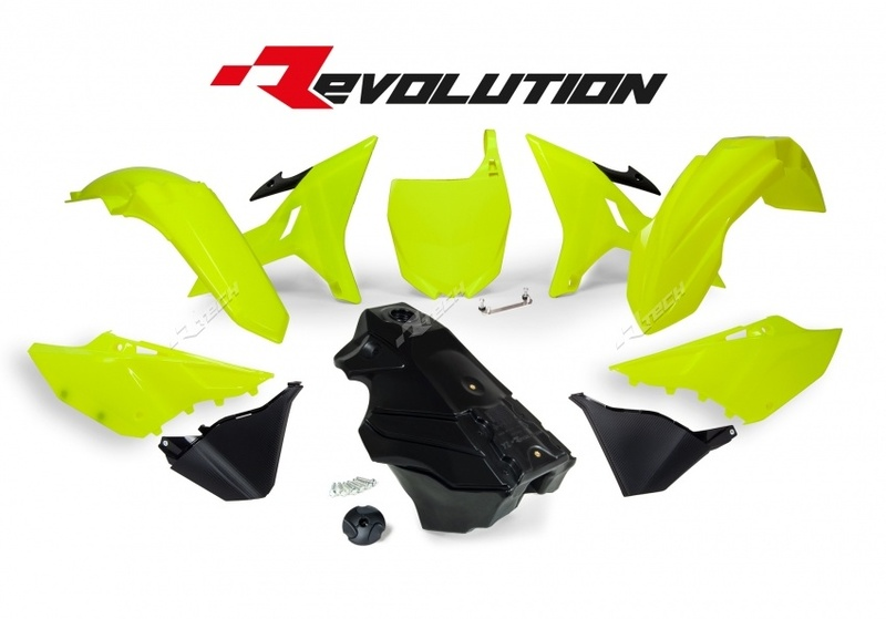 Kit plastique RACETECH Revolution + réservoir jaune fluo/noir Yamaha YZ125/250