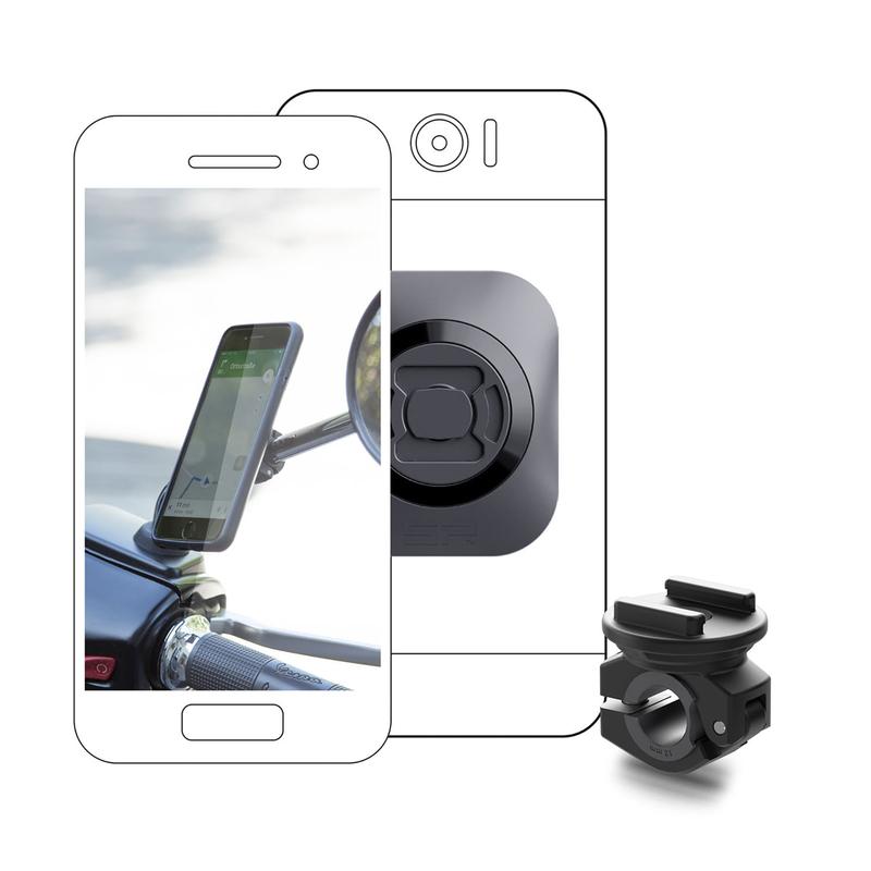 Pack complet SP-CONNECT Moto Bundle fixé sur rétroviseur Universel