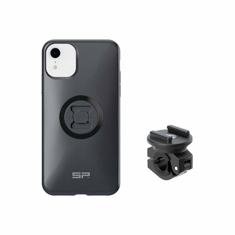Pack complet SP-CONNECT Moto Bundle fixé sur rétroviseur iPhone 11/XR