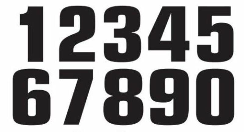 Numéro de course 1 TECNOSEL 20x13cm noir jeu de 3