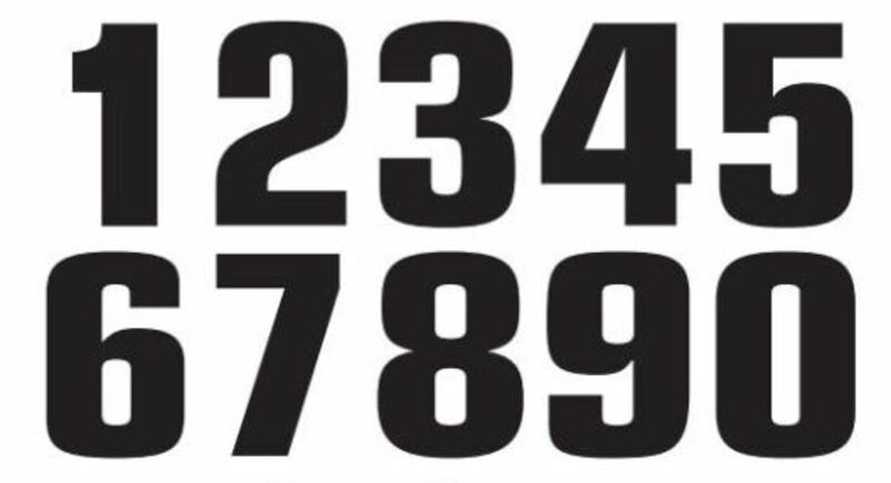 Numéro de course 5 TECNOSEL 20x13cm noir jeu de 3