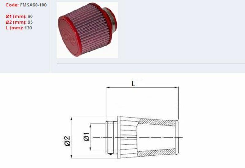 Filtre à air BMC conique Ø60mm - FMSA60-100
