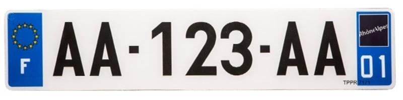 Plaques Françaises PPI 520x110 SIV Département 2A PVC + fonds blanc 10 pièces