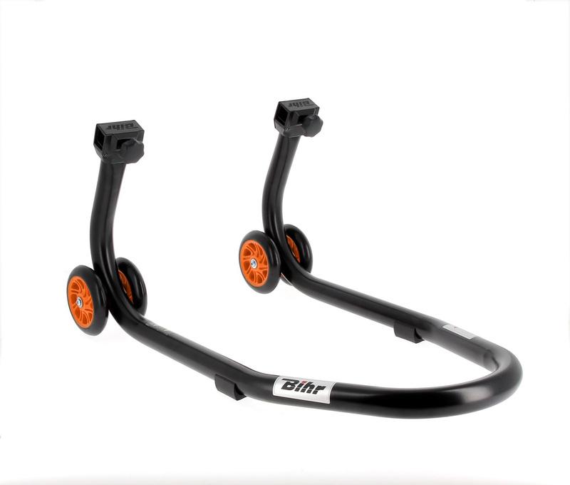 Béquille avant BIHR Home Track noir mat roues orange